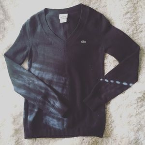 LACOSTE Black V Neck Sweater 36